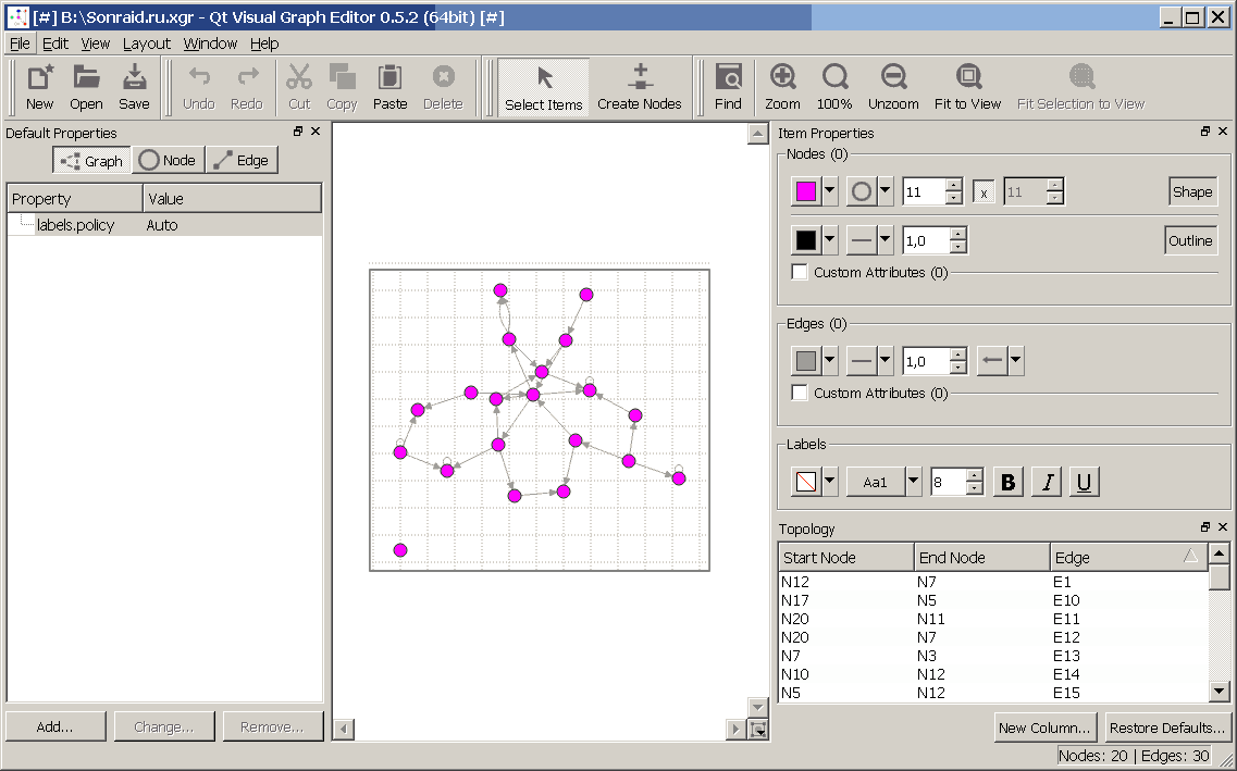 Qt Visual Graph Editor