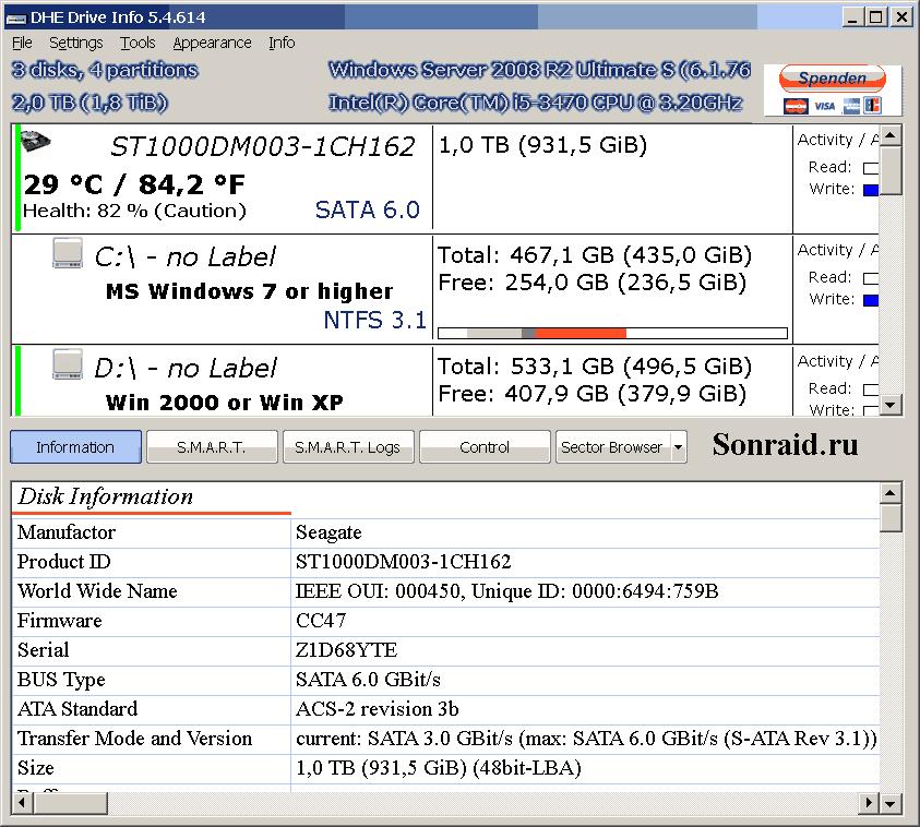 DHE Drive Info 5.4.614