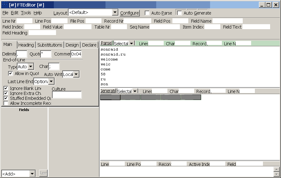 Fielded Text Editor 3.0.0.0