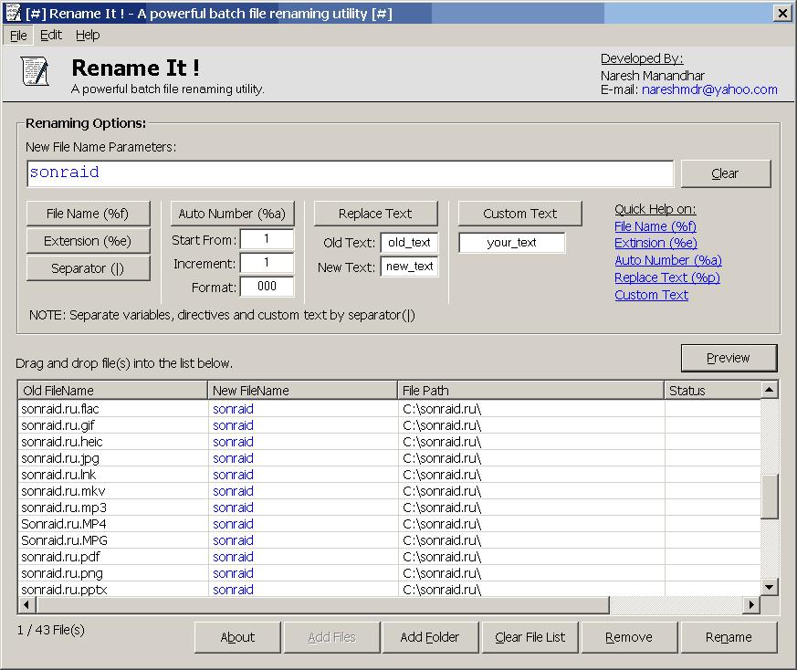Rename It! 1.2.0